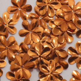 Bulk Bag 1000 x 15mm Metallic Orange Flower Sequins.